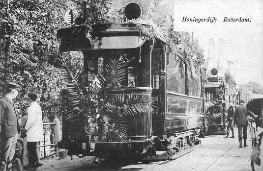 tramway postcard rotterdam r e t m